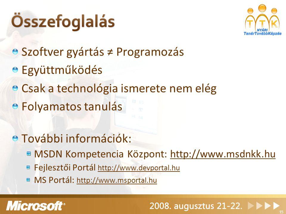 Szoftver gyártás ≠ Programozás Együttműködés Csak a technológia ismerete nem elég Folyamatos tanulás További információk: MSDN Kompetencia Központ: http://www.msdnkk.huhttp://www.msdnkk.hu Fejlesztői Portál http://www.devportal.hu http://www.devportal.hu MS Portál: http://www.msportal.hu http://www.msportal.hu 15