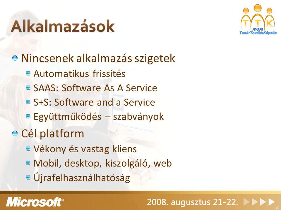 Nincsenek alkalmazás szigetek Automatikus frissítés SAAS: Software As A Service S+S: Software and a Service Együttműködés – szabványok Cél platform Vékony és vastag kliens Mobil, desktop, kiszolgáló, web Újrafelhasználhatóság 8