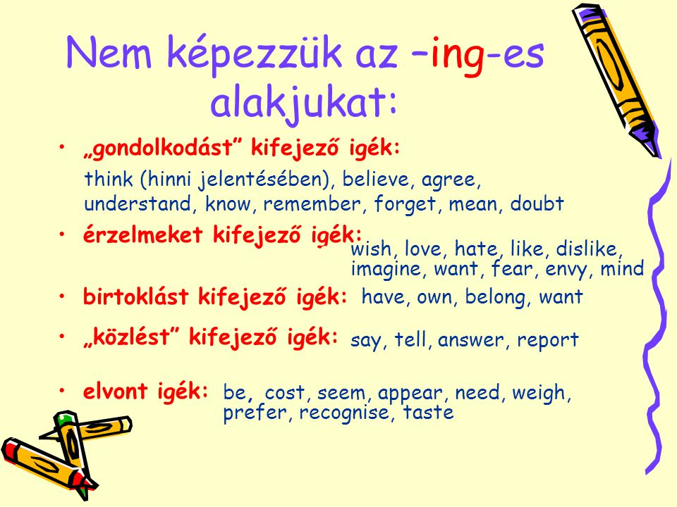 "Nem képezzük az –ing-es alakjukat: ""gondolkodást kifejező igék: think (hinni jelentésében), believe, agree, understand, know, remember, forget, mean, doubt érzelmeket kifejező igék: wish, love, hate, like, dislike, imagine, want, fear, envy, mind birtoklást kifejező igék: have, own, belong, want ""közlést kifejező igék: say, tell, answer, report elvont igék: be, cost, seem, appear, need, weigh, prefer, recognise, taste think (hinni jelentésében), believe, agree, understand, know, remember, forget, mean, doubt wish, love, hate, like, dislike, imagine, want, fear, envy, mind have, own, belong, want say, tell, answer, report be, cost, seem, appear, need, weigh, prefer, recognise, taste"