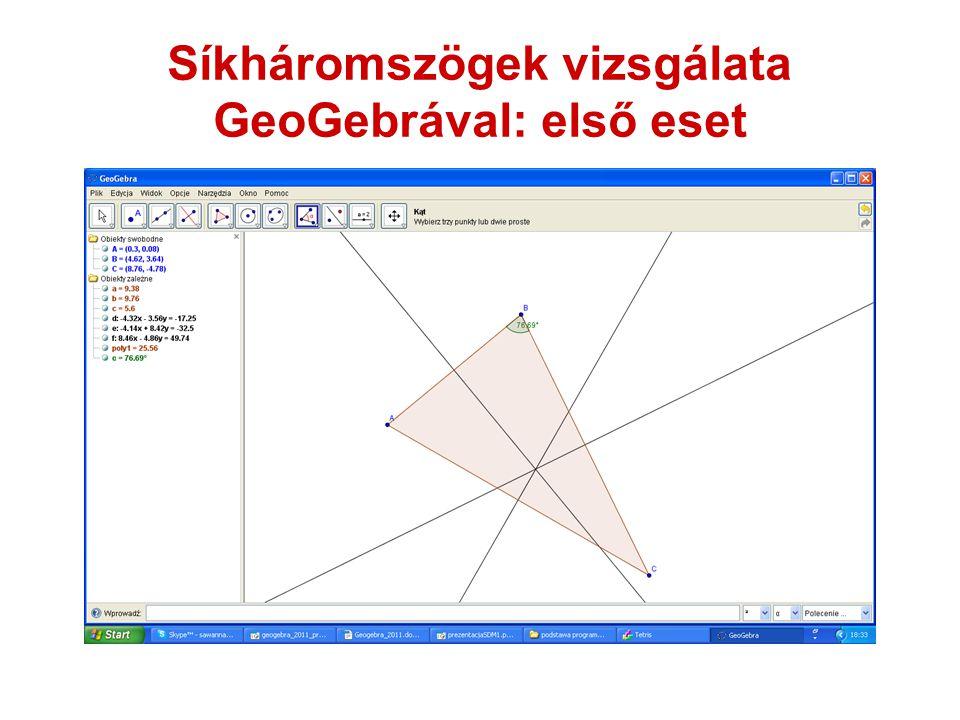 Síkháromszögek vizsgálata GeoGebrával: első eset