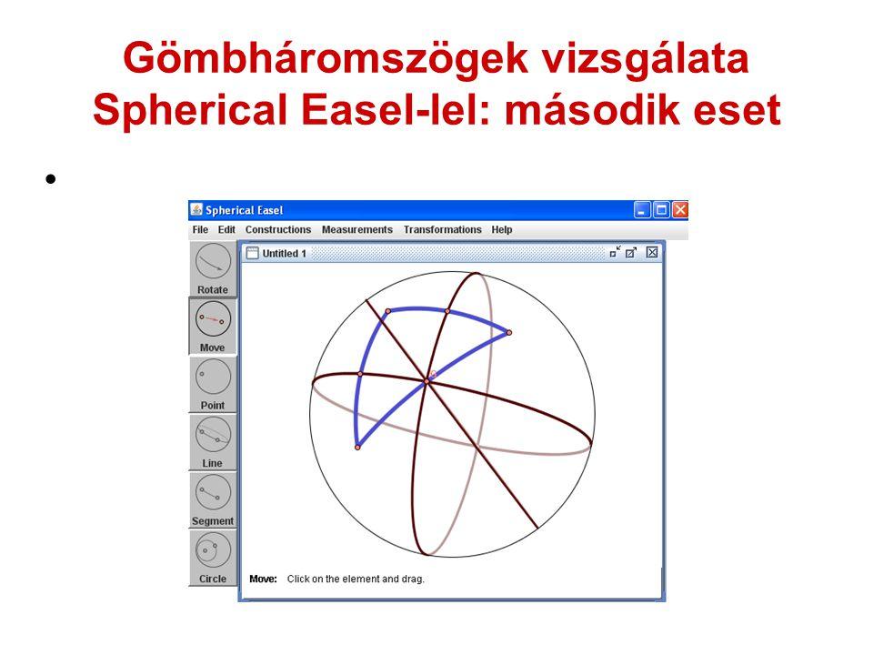 Gömbháromszögek vizsgálata Spherical Easel-lel: második eset