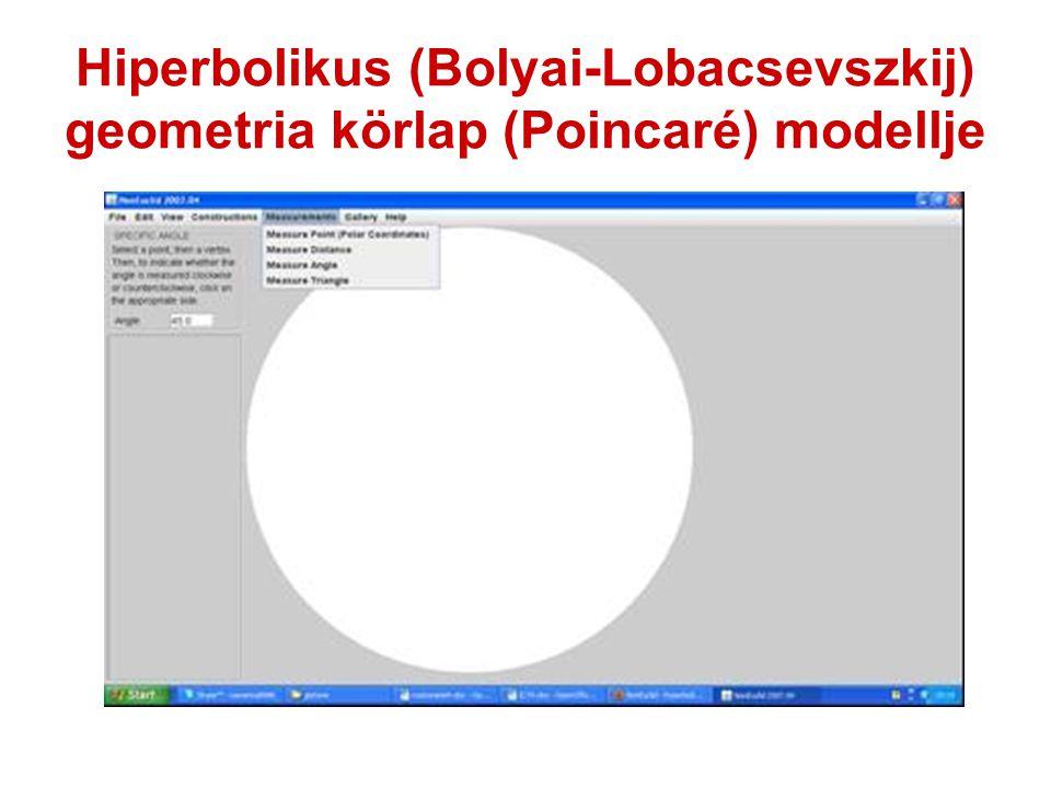 Hiperbolikus (Bolyai-Lobacsevszkij) geometria körlap (Poincaré) modellje