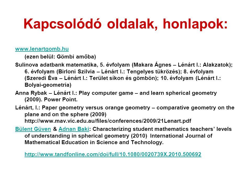 Kapcsolódó oldalak, honlapok: www.lenartgomb.hu (ezen belül: Gömbi amőba) Sulinova adatbank matematika, 5.