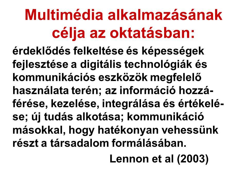Multimédia alkalmazásának célja az oktatásban: érdeklődés felkeltése és képességek fejlesztése a digitális technológiák és kommunikációs eszközök megfelelő használata terén; az információ hozzá- férése, kezelése, integrálása és értékelé- se; új tudás alkotása; kommunikáció másokkal, hogy hatékonyan vehessünk részt a társadalom formálásában.