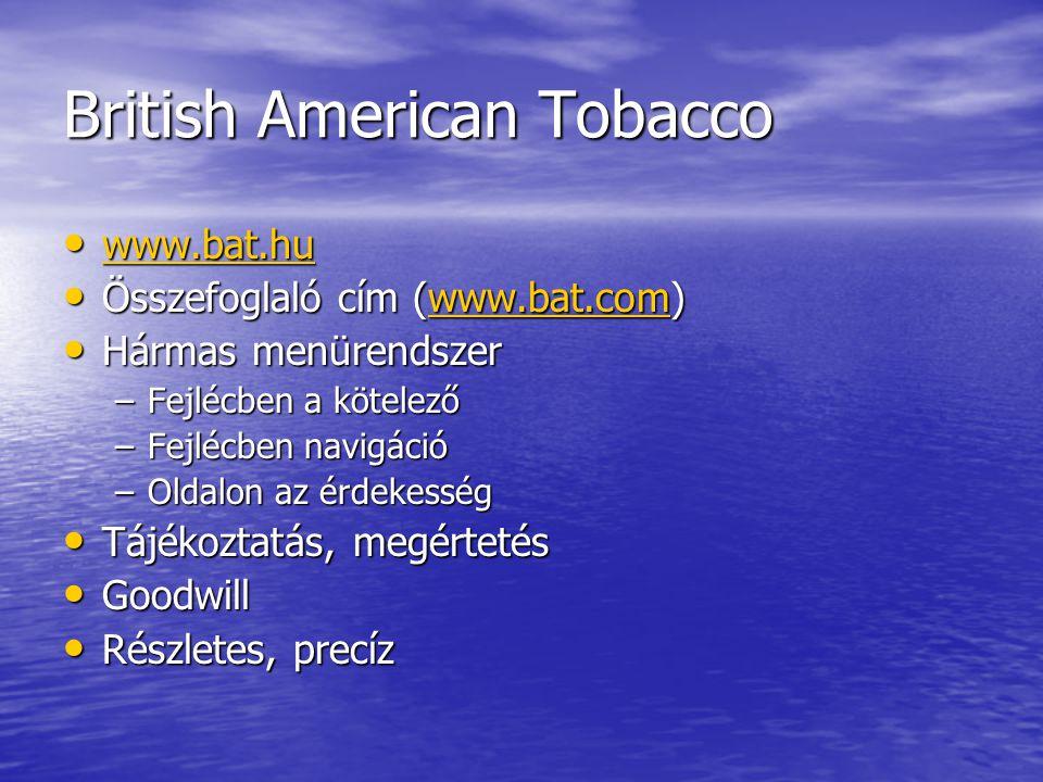 British American Tobacco www.bat.hu www.bat.hu www.bat.hu Összefoglaló cím (www.bat.com) Összefoglaló cím (www.bat.com)www.bat.com Hármas menürendszer