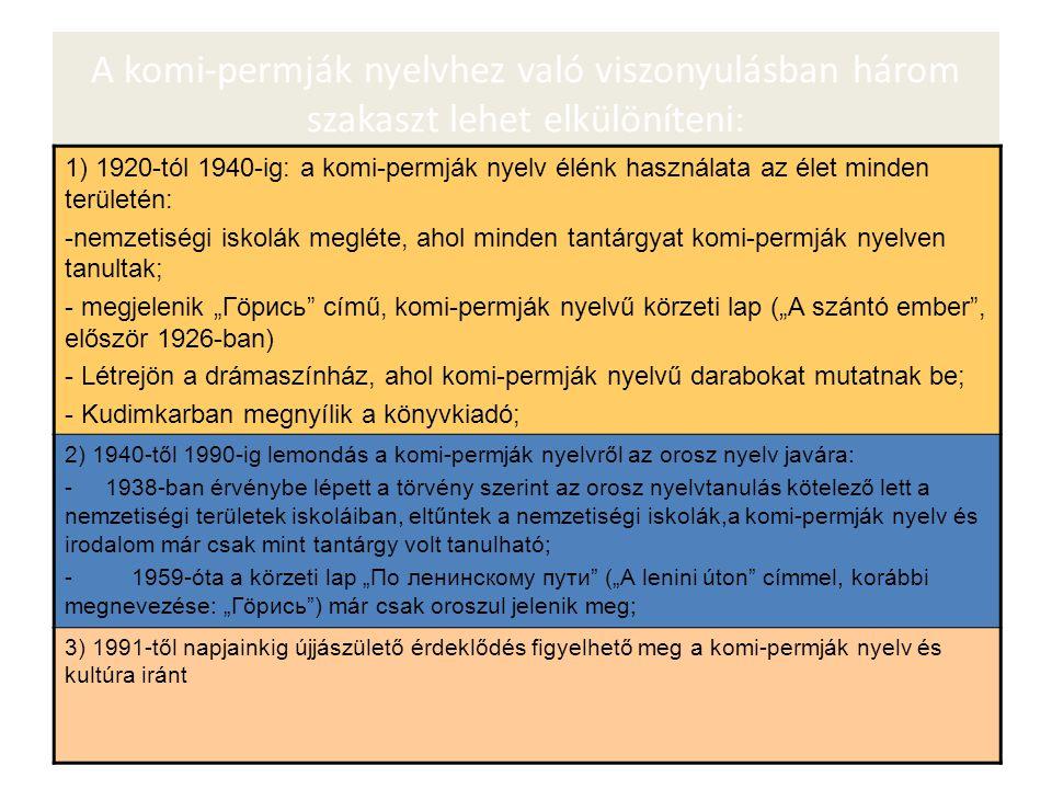 """A komi-permják nyelvhez való viszonyulásban három szakaszt lehet elkülöníteni: 1) 1920-tól 1940-ig: a komi-permják nyelv élénk használata az élet minden területén: -nemzetiségi iskolák megléte, ahol minden tantárgyat komi-permják nyelven tanultak; - megjelenik """"Гöрись című, komi-permják nyelvű körzeti lap (""""A szántó ember , először 1926-ban) - Létrejön a drámaszínház, ahol komi-permják nyelvű darabokat mutatnak be; - Kudimkarban megnyílik a könyvkiadó; 2) 1940-től 1990-ig lemondás a komi-permják nyelvről az orosz nyelv javára: - 1938-ban érvénybe lépett a törvény szerint az orosz nyelvtanulás kötelező lett a nemzetiségi területek iskoláiban, eltűntek a nemzetiségi iskolák,a komi-permják nyelv és irodalom már csak mint tantárgy volt tanulható; - 1959-óta a körzeti lap """"По ленинскому пути (""""A lenini úton címmel, korábbi megnevezése: """"Гöрись ) már csak oroszul jelenik meg; 3) 1991-től napjainkig újjászülető érdeklődés figyelhető meg a komi-permják nyelv és kultúra iránt"""