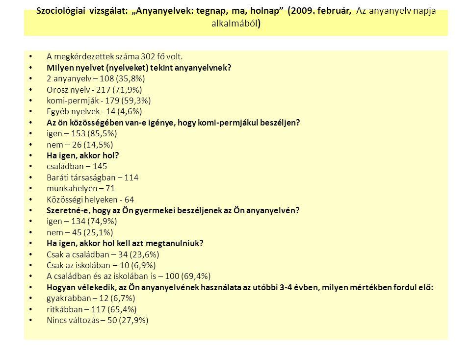 """Szociológiai vizsgálat: """"Anyanyelvek: tegnap, ma, holnap (2009."""