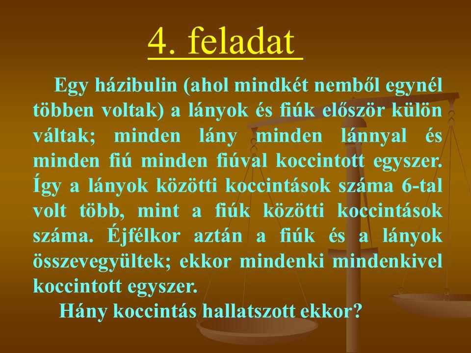 4. feladat Egy házibulin (ahol mindkét nemből egynél többen voltak) a lányok és fiúk először külön váltak; minden lány minden lánnyal és minden fiú mi