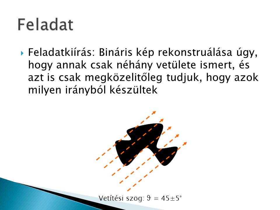  Feladatkiírás: Bináris kép rekonstruálása úgy, hogy annak csak néhány vetülete ismert, és azt is csak megközelitőleg tudjuk, hogy azok milyen irányból készültek Vetítési szög: ϑ = 45±5°