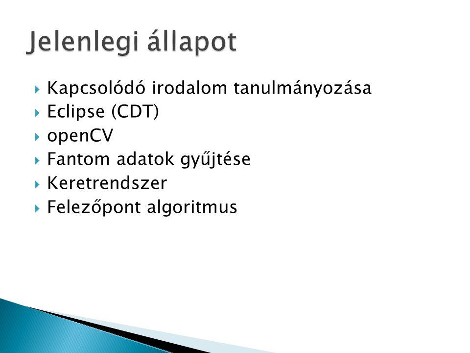  Kapcsolódó irodalom tanulmányozása  Eclipse (CDT)  openCV  Fantom adatok gyűjtése  Keretrendszer  Felezőpont algoritmus
