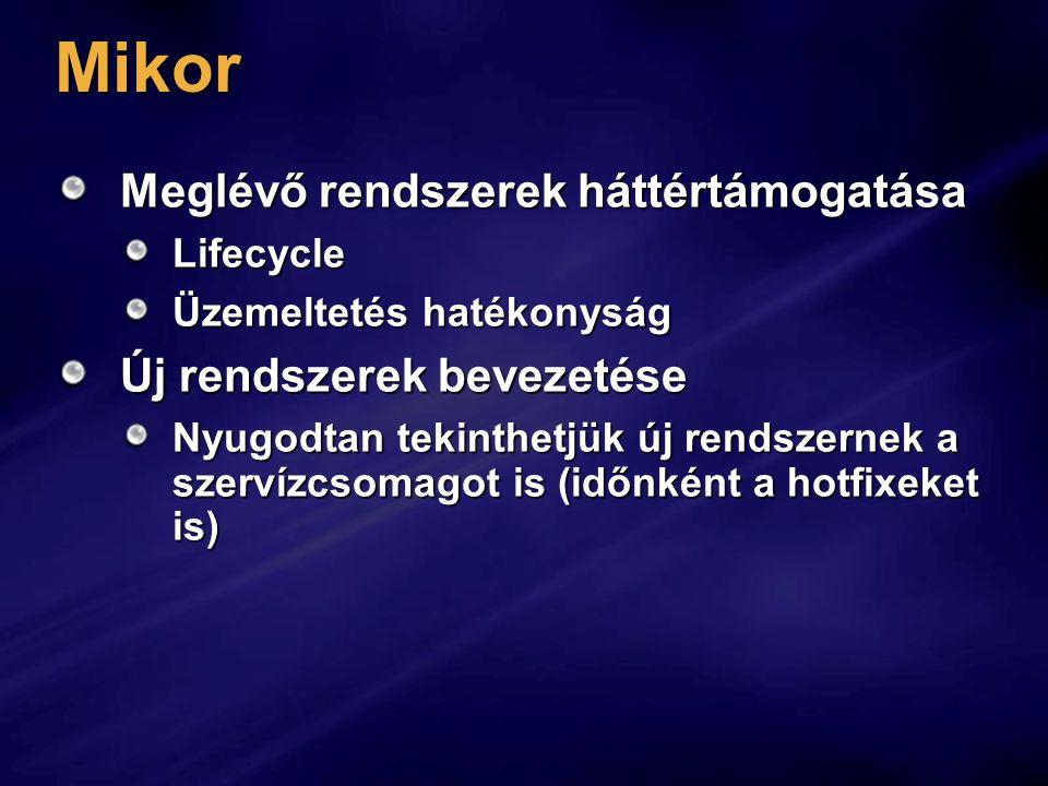 Mikor Meglévő rendszerek háttértámogatása Lifecycle Üzemeltetés hatékonyság Új rendszerek bevezetése Nyugodtan tekinthetjük új rendszernek a szervízcsomagot is (időnként a hotfixeket is)