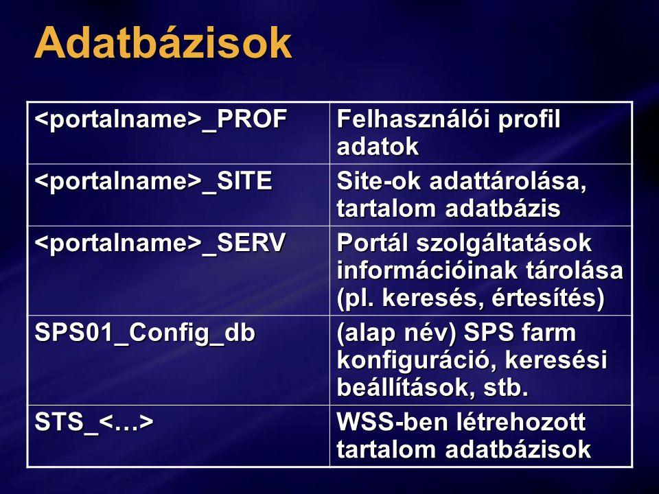 Adatbázisok <portalname>_PROF Felhasználói profil adatok <portalname>_SITE Site-ok adattárolása, tartalom adatbázis <portalname>_SERV Portál szolgáltatások információinak tárolása (pl.