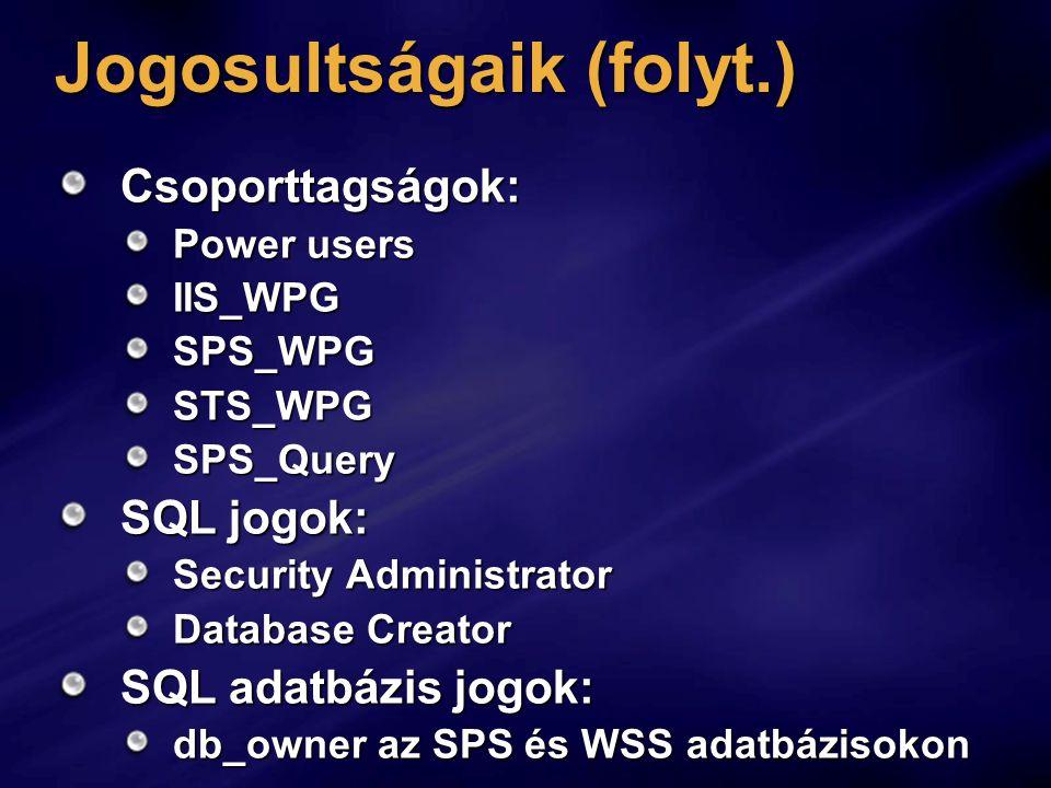 Jogosultságaik (folyt.) Csoporttagságok: Power users IIS_WPGSPS_WPGSTS_WPGSPS_Query SQL jogok: Security Administrator Database Creator SQL adatbázis jogok: db_owner az SPS és WSS adatbázisokon