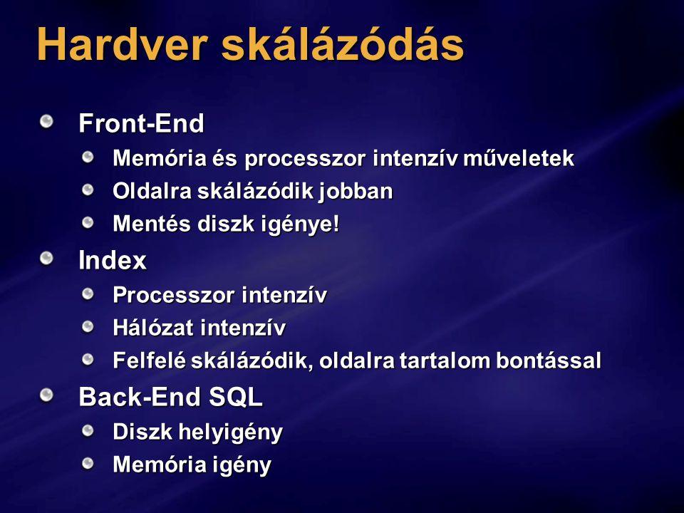 Hardver skálázódás Front-End Memória és processzor intenzív műveletek Oldalra skálázódik jobban Mentés diszk igénye.