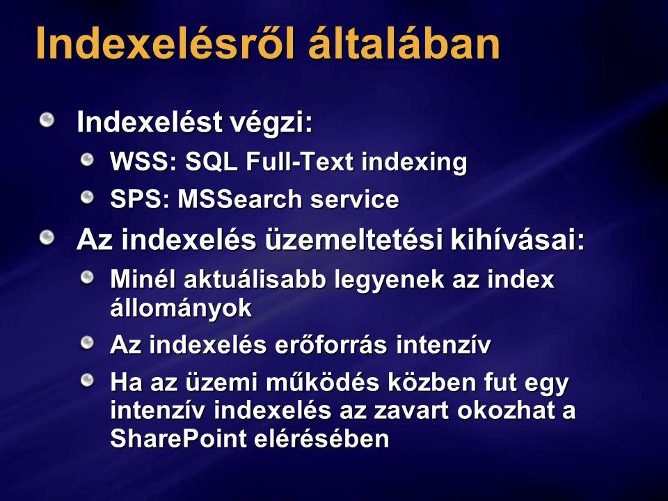 Indexelésről általában Indexelést végzi: WSS: SQL Full-Text indexing SPS: MSSearch service Az indexelés üzemeltetési kihívásai: Minél aktuálisabb legyenek az index állományok Az indexelés erőforrás intenzív Ha az üzemi működés közben fut egy intenzív indexelés az zavart okozhat a SharePoint elérésében
