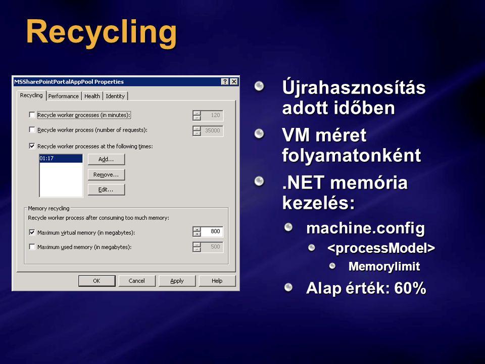 Recycling Újrahasznosítás adott időben VM méret folyamatonként.NET memória kezelés: machine.config<processModel>Memorylimit Alap érték: 60%