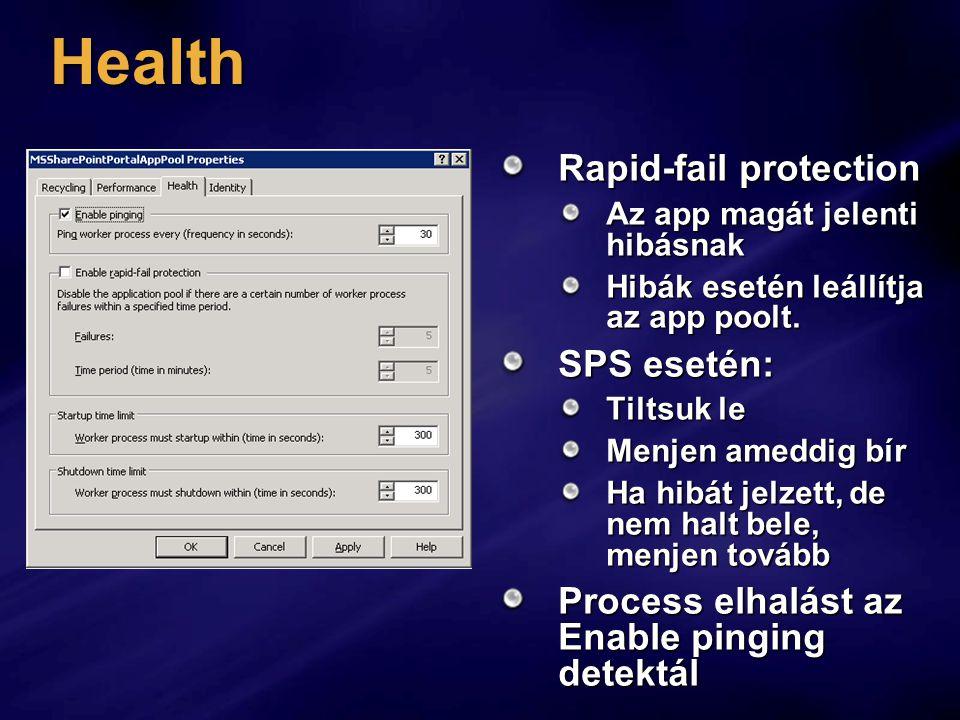 Health Rapid-fail protection Az app magát jelenti hibásnak Hibák esetén leállítja az app poolt.