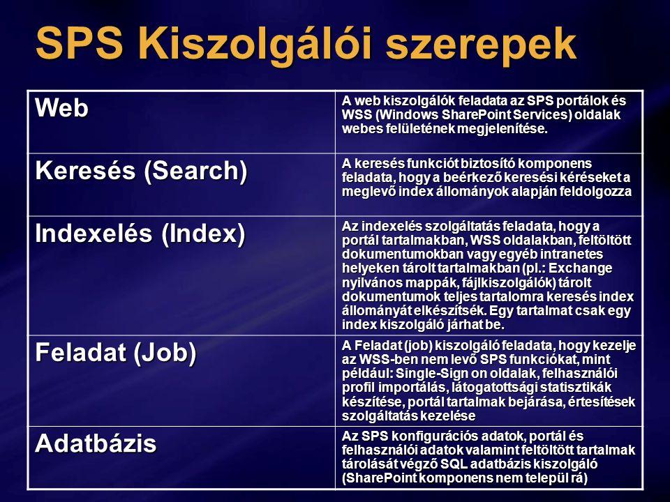SPS Kiszolgálói szerepek Web A web kiszolgálók feladata az SPS portálok és WSS (Windows SharePoint Services) oldalak webes felületének megjelenítése.