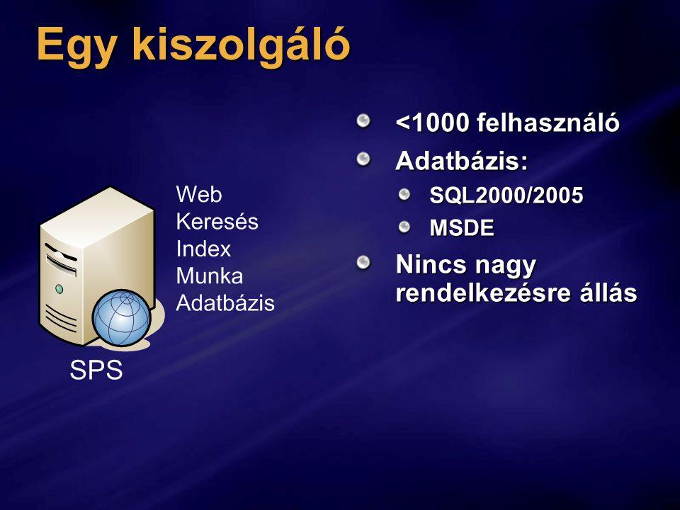 Egy kiszolgáló <1000 felhasználó Adatbázis:SQL2000/2005MSDE Nincs nagy rendelkezésre állás