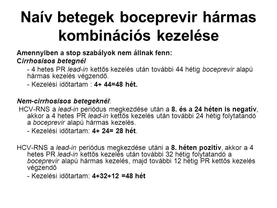 Naív betegek boceprevir hármas kombinációs kezelése Amennyiben a stop szabályok nem állnak fenn: Cirrhosisos betegnél - 4 hetes PR lead-in kettős keze