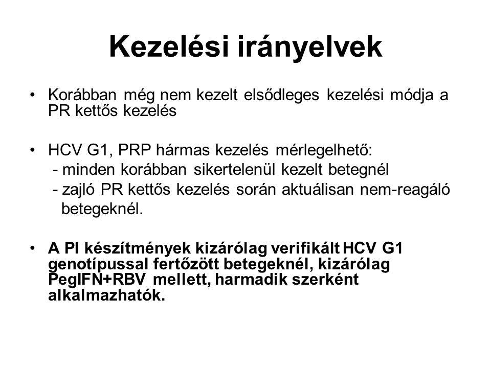 Kezelési irányelvek Korábban még nem kezelt elsődleges kezelési módja a PR kettős kezelés HCV G1, PRP hármas kezelés mérlegelhető: - minden korábban s