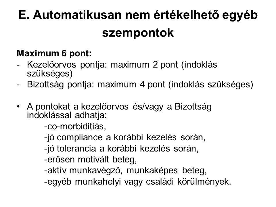 E. Automatikusan nem értékelhető egyéb szempontok Maximum 6 pont: -Kezelőorvos pontja: maximum 2 pont (indoklás szükséges) -Bizottság pontja: maximum