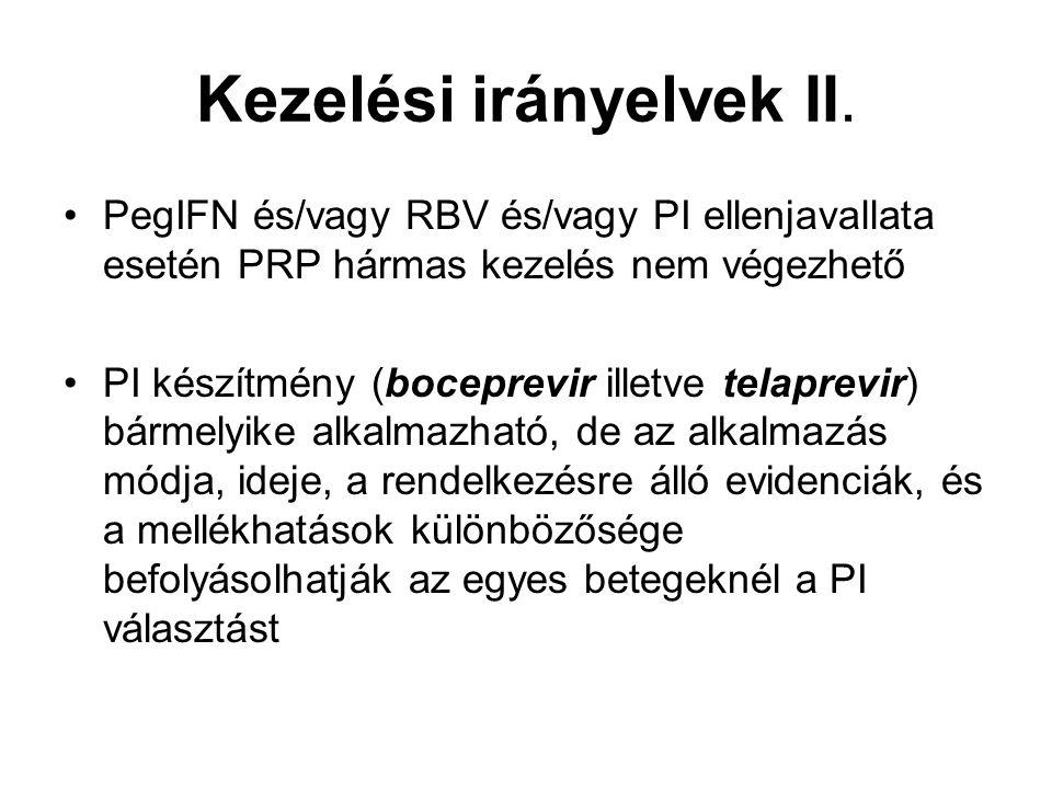 Kezelési irányelvek II. PegIFN és/vagy RBV és/vagy PI ellenjavallata esetén PRP hármas kezelés nem végezhető PI készítmény (boceprevir illetve telapre