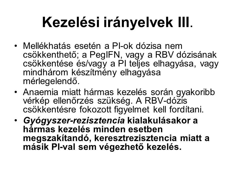 Kezelési irányelvek III. Mellékhatás esetén a PI-ok dózisa nem csökkenthető; a PegIFN, vagy a RBV dózisának csökkentése és/vagy a PI teljes elhagyása,