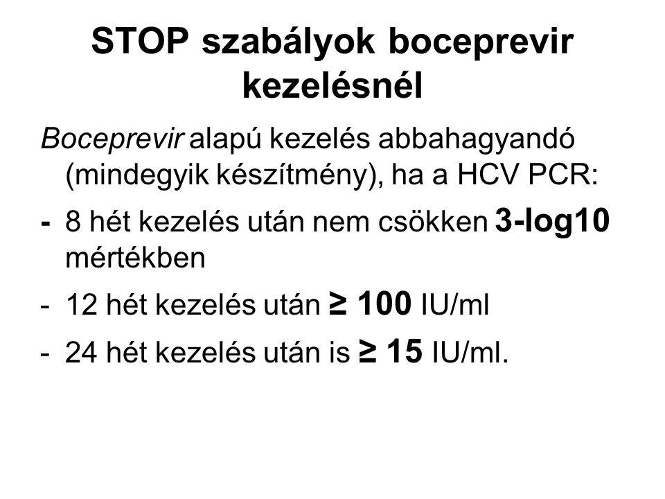 STOP szabályok boceprevir kezelésnél Boceprevir alapú kezelés abbahagyandó (mindegyik készítmény), ha a HCV PCR: -8 hét kezelés után nem csökken 3-log