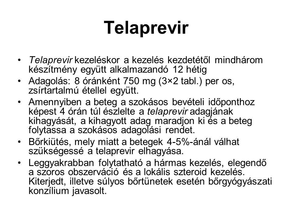 Telaprevir Telaprevir kezeléskor a kezelés kezdetétől mindhárom készítmény együtt alkalmazandó 12 hétig Adagolás: 8 óránként 750 mg (3×2 tabl.) per os