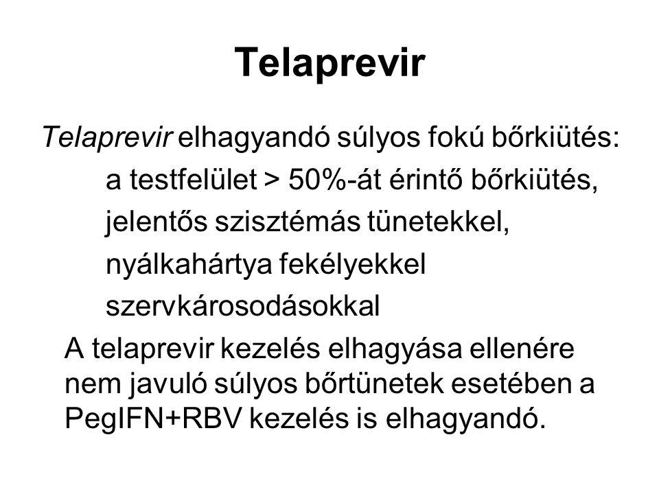 Telaprevir Telaprevir elhagyandó súlyos fokú bőrkiütés: a testfelület > 50%-át érintő bőrkiütés, jelentős szisztémás tünetekkel, nyálkahártya fekélyek