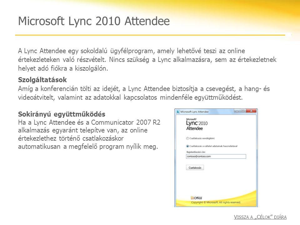 Microsoft Lync 2010 Attendee A Lync Attendee egy sokoldalú ügyfélprogram, amely lehetővé teszi az online értekezleteken való részvételt. Nincs szükség