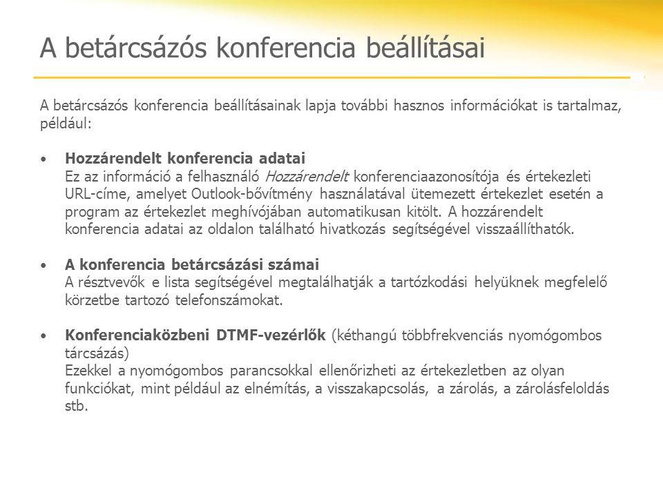 A betárcsázós konferencia beállításai A betárcsázós konferencia beállításainak lapja további hasznos információkat is tartalmaz, például: Hozzárendelt