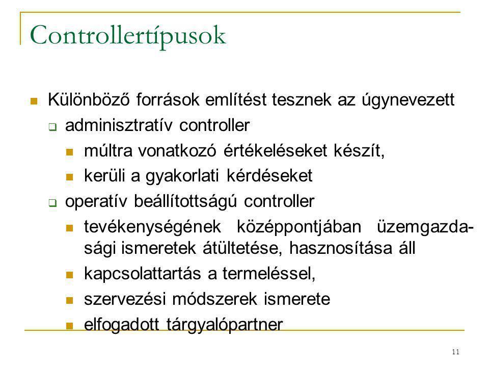 11 Controllertípusok Különböző források említést tesznek az úgynevezett  adminisztratív controller múltra vonatkozó értékeléseket készít, kerüli a gy