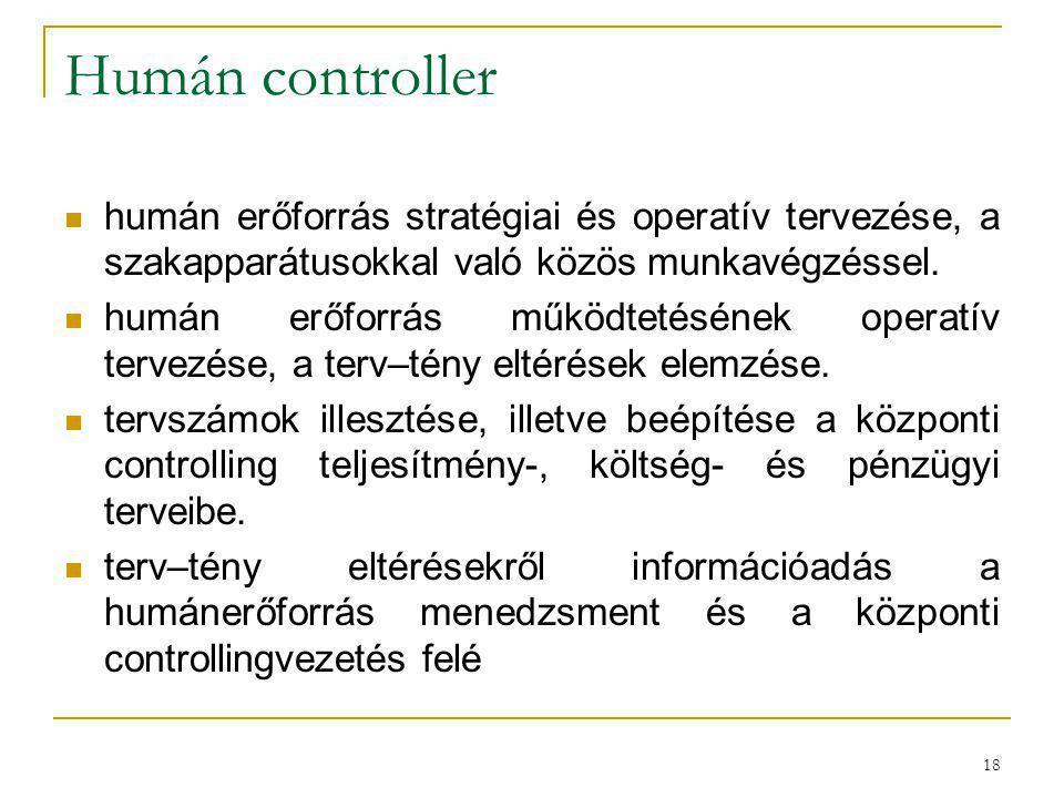 18 Humán controller humán erőforrás stratégiai és operatív tervezése, a szakapparátusokkal való közös munkavégzéssel. humán erőforrás működtetésének o