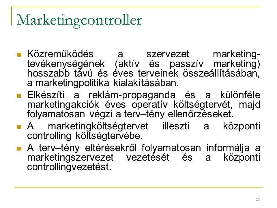 19 Marketingcontroller Közreműködés a szervezet marketing- tevékenységének (aktív és passzív marketing) hosszabb távú és éves terveinek összeállításáb