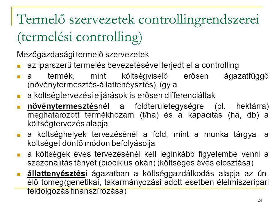 24 Termelő szervezetek controllingrendszerei (termelési controlling) Mezőgazdasági termelő szervezetek az iparszerű termelés bevezetésével terjedt el