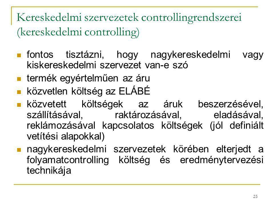 25 Kereskedelmi szervezetek controllingrendszerei (kereskedelmi controlling) fontos tisztázni, hogy nagykereskedelmi vagy kiskereskedelmi szervezet va