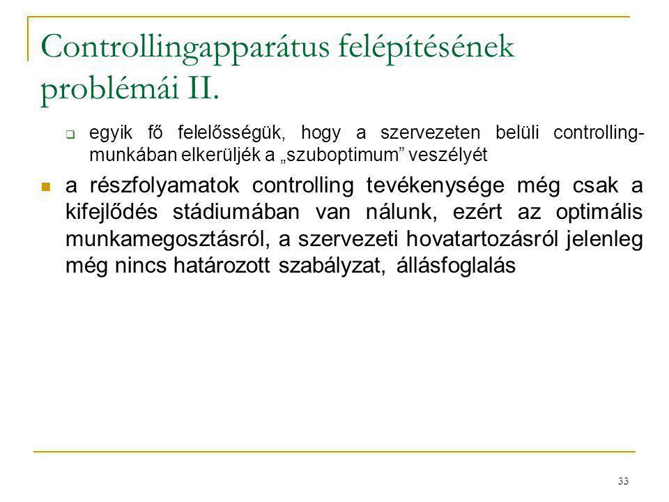 """33 Controllingapparátus felépítésének problémái II.  egyik fő felelősségük, hogy a szervezeten belüli controlling- munkában elkerüljék a """"szuboptimum"""