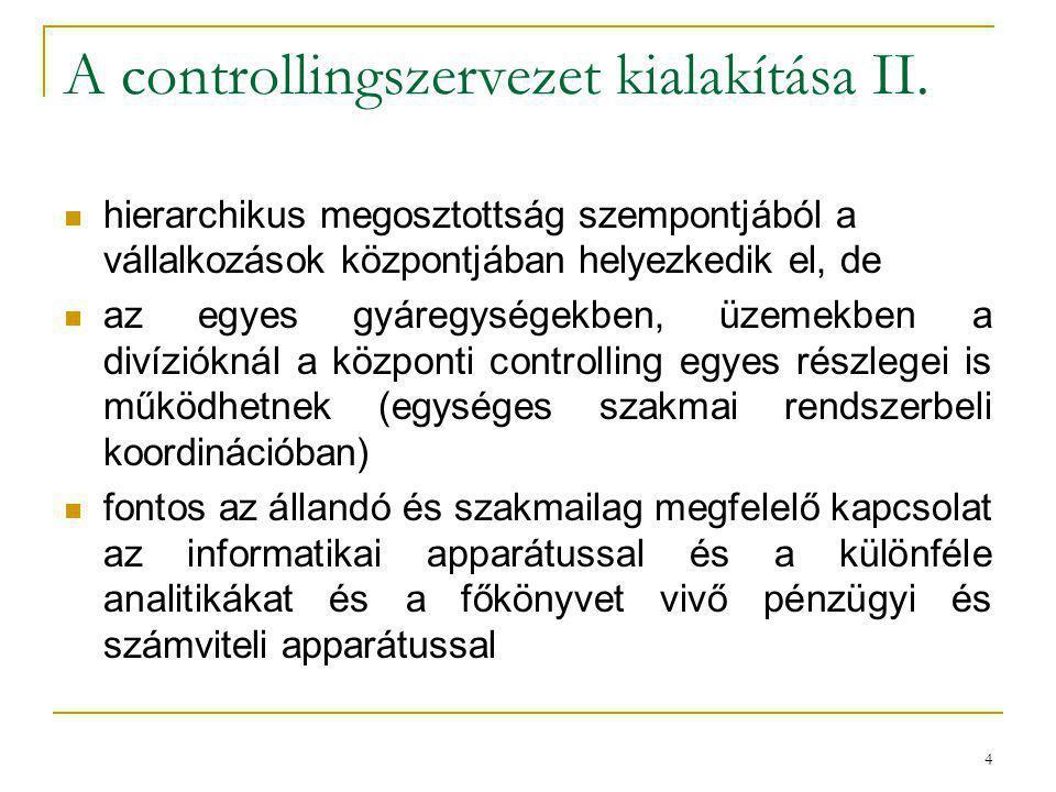 4 A controllingszervezet kialakítása II. hierarchikus megosztottság szempontjából a vállalkozások központjában helyezkedik el, de az egyes gyáregysége