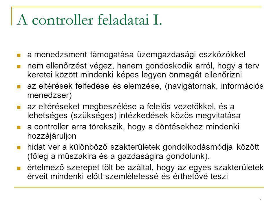 7 A controller feladatai I. a menedzsment támogatása üzemgazdasági eszközökkel nem ellenőrzést végez, hanem gondoskodik arról, hogy a terv keretei köz