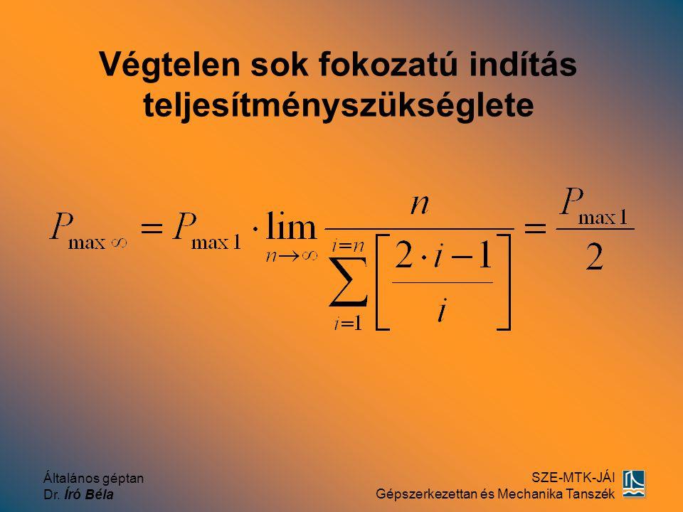 Általános géptan Dr. Író Béla SZE-MTK-JÁI Gépszerkezettan és Mechanika Tanszék Végtelen sok fokozatú indítás teljesítményszükséglete
