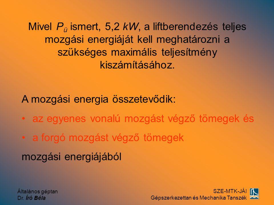 Általános géptan Dr. Író Béla SZE-MTK-JÁI Gépszerkezettan és Mechanika Tanszék Mivel Pü Pü ismert, 5,2 kW, a liftberendezés teljes mozgási energiáját