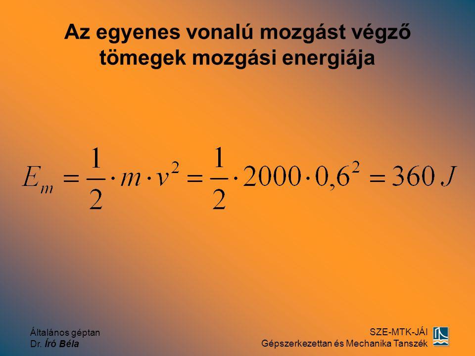 Általános géptan Dr. Író Béla SZE-MTK-JÁI Gépszerkezettan és Mechanika Tanszék Az egyenes vonalú mozgást végző tömegek mozgási energiája