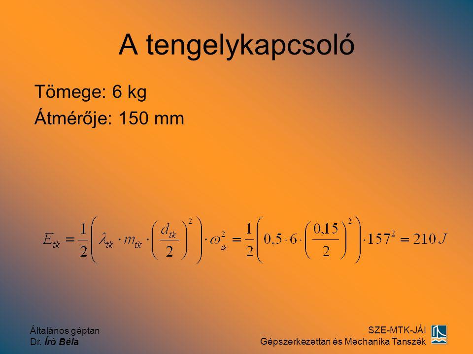 Általános géptan Dr. Író Béla SZE-MTK-JÁI Gépszerkezettan és Mechanika Tanszék A tengelykapcsoló Tömege: 6 kg Átmérője: 150 mm