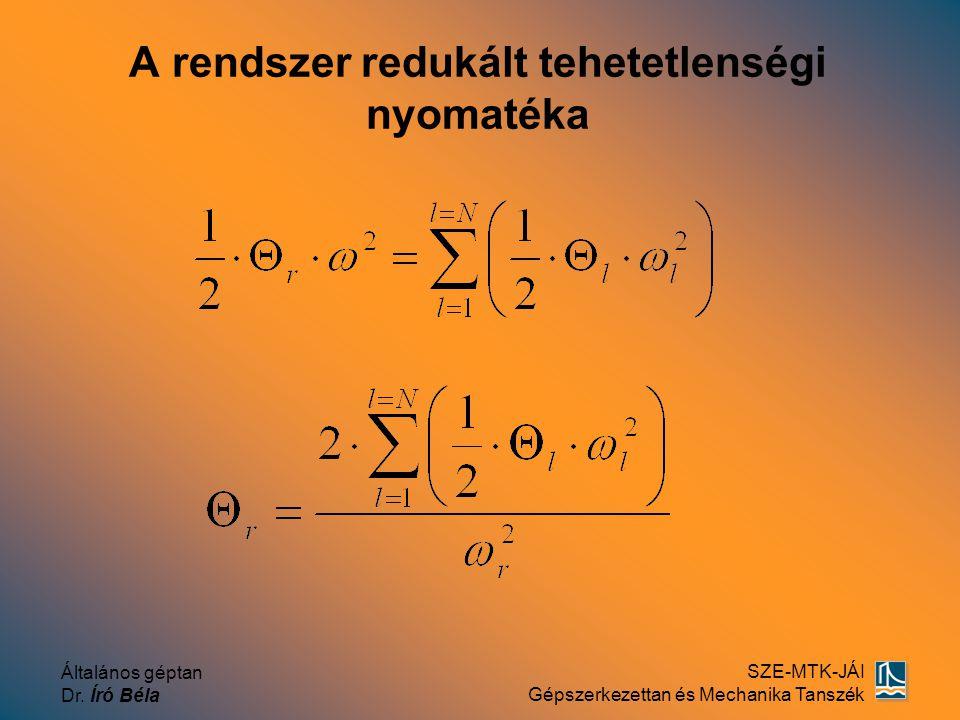 Általános géptan Dr. Író Béla SZE-MTK-JÁI Gépszerkezettan és Mechanika Tanszék A rendszer redukált tehetetlenségi nyomatéka