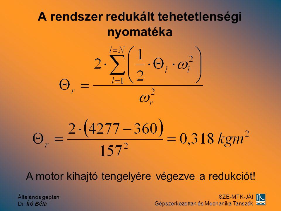 Általános géptan Dr. Író Béla SZE-MTK-JÁI Gépszerkezettan és Mechanika Tanszék A rendszer redukált tehetetlenségi nyomatéka A motor kihajtó tengelyére