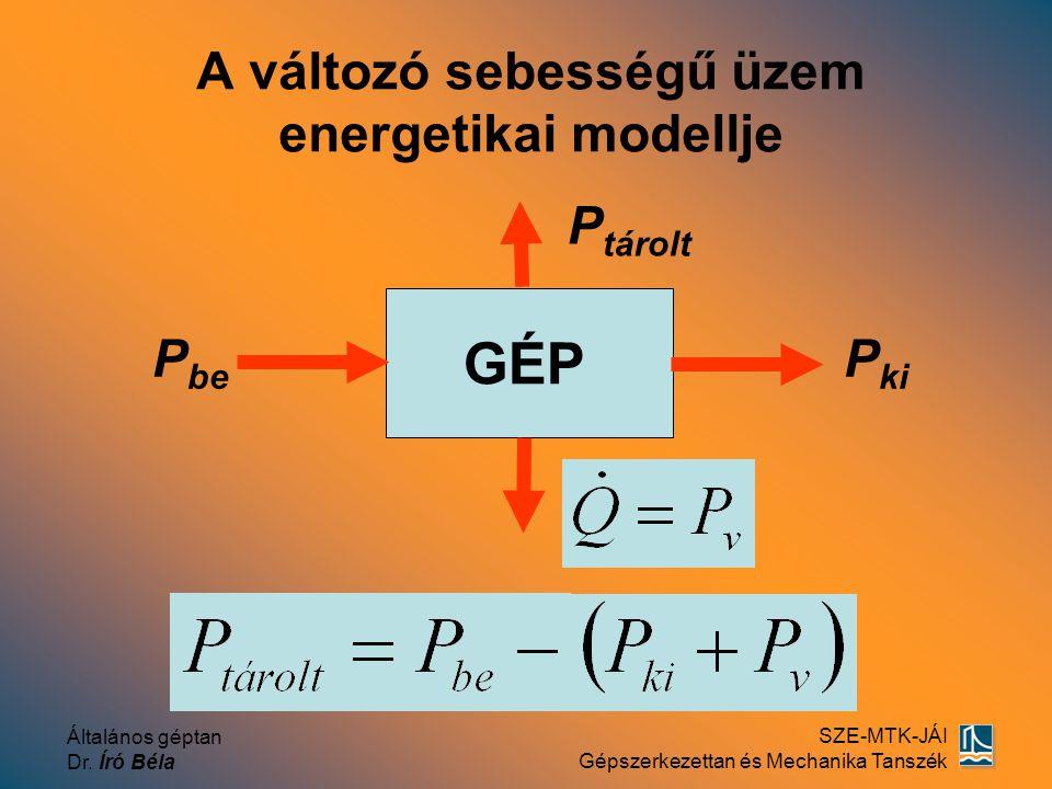 Általános géptan Dr. Író Béla SZE-MTK-JÁI Gépszerkezettan és Mechanika Tanszék A változó sebességű üzem energetikai modellje P be P ki GÉP P tárolt
