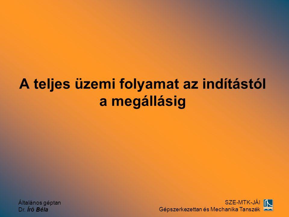 Általános géptan Dr. Író Béla SZE-MTK-JÁI Gépszerkezettan és Mechanika Tanszék A teljes üzemi folyamat az indítástól a megállásig