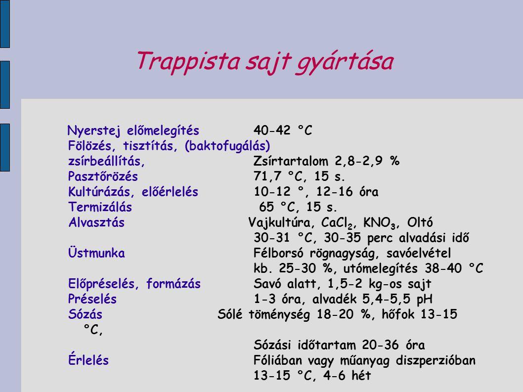 Trappista sajt gyártása Nyerstej előmelegítés 40-42 °C Fölözés, tisztítás, (baktofugálás) zsírbeállítás, Zsírtartalom 2,8-2,9 % Pasztőrözés 71,7 °C, 1